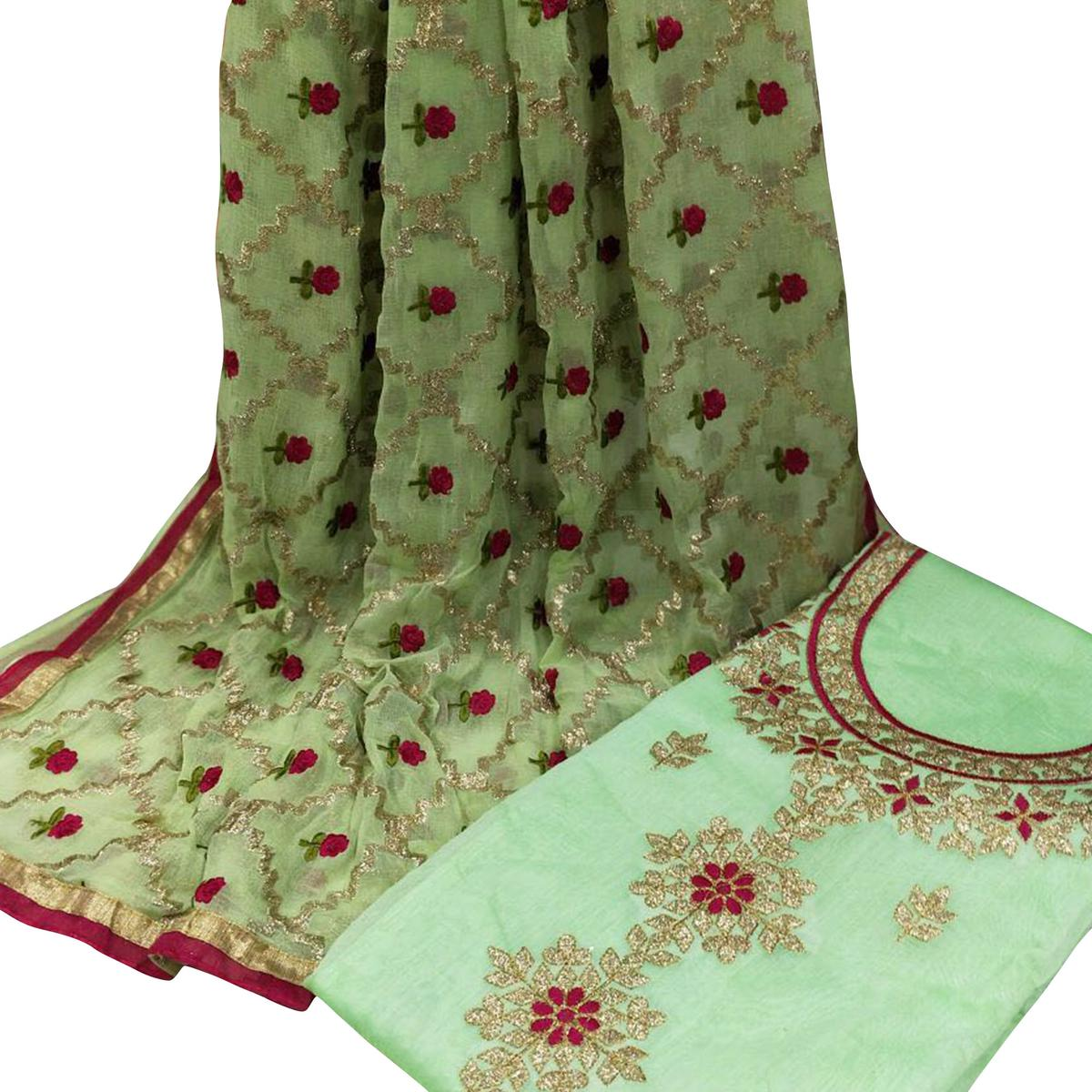 Refreshing Green Colored Partywear Embroidered Modal Dress Material