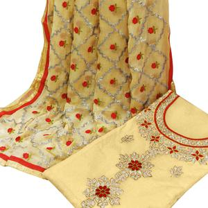 Appealing Cream Colored Partywear Embroidered Modal Dress Material