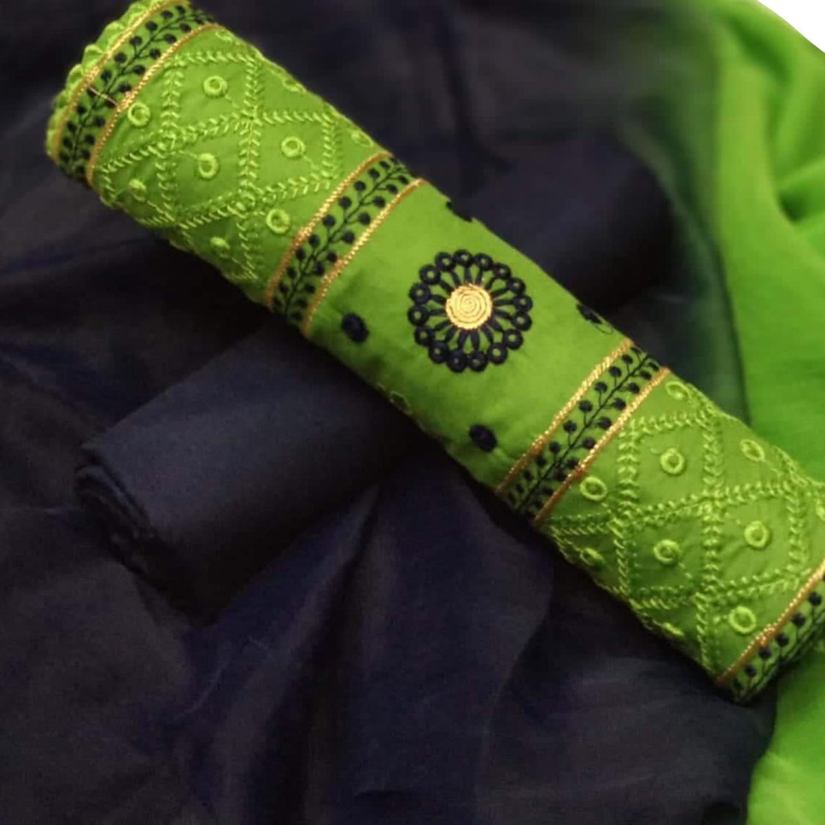 Classy Green Colored Partywear Embroidered Cotton Dress Material