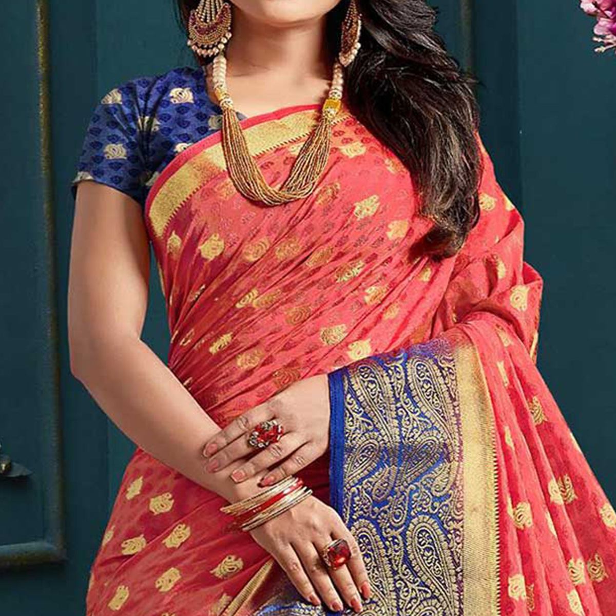 Elegant Red Colored Festive Wear Woven Art Silk Saree