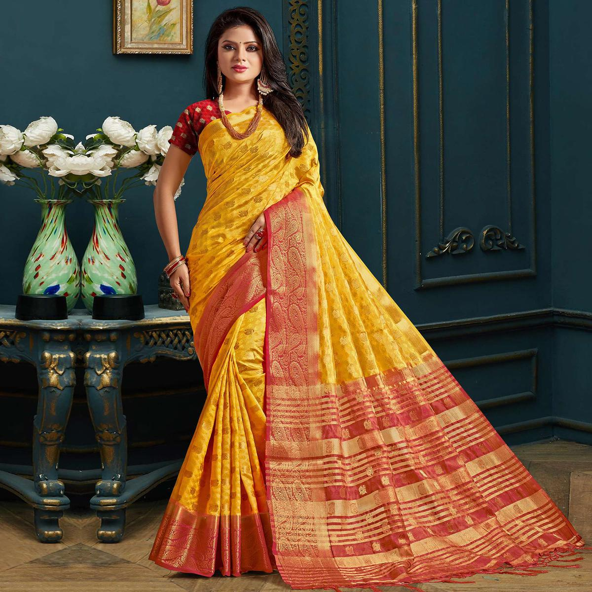 Beautiful Yellow Colored Festive Wear Woven Art Silk Saree
