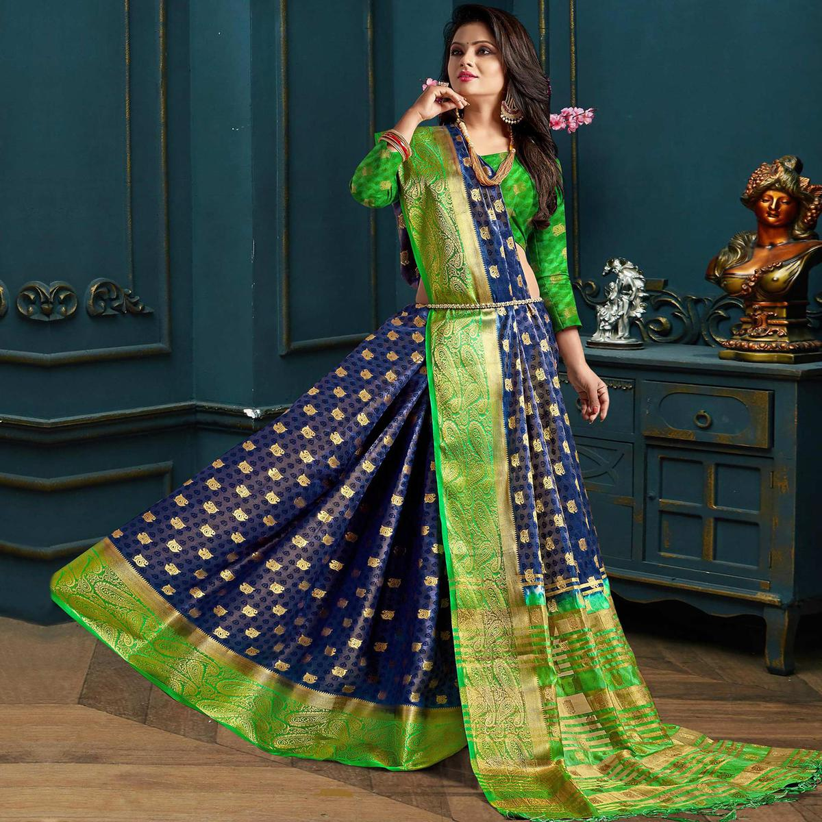 Eye-Catching Blue-Green Colored Festive Wear Woven Art Silk Saree