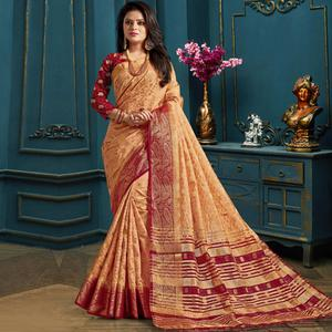 Blooming Peach Colored Festive Wear Woven Art Silk Saree