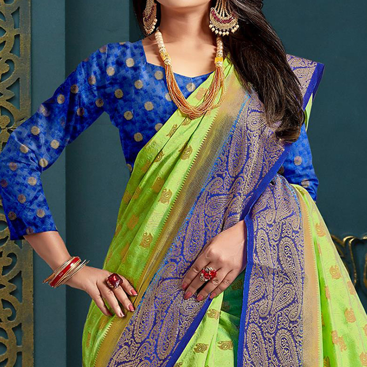 Gleaming Light Green Colored Festive Wear Woven Art Silk Saree