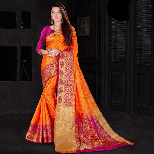 Beautiful Orange Color Festive Wear Woven Silk Saree