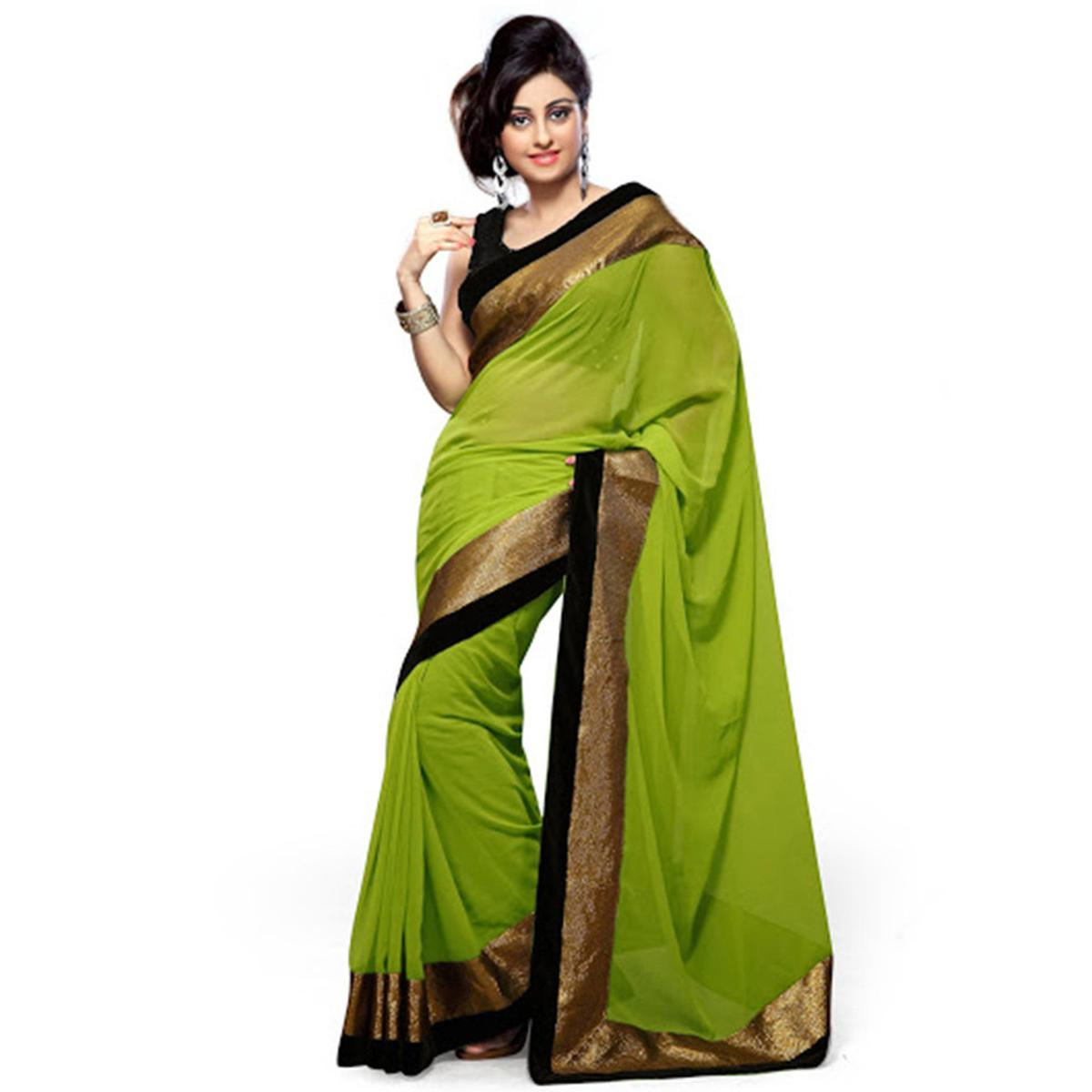 Green Border Work Georgette Saree