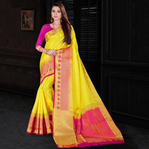 Adorable Yellow Colored Festive Wear Woven Silk Saree