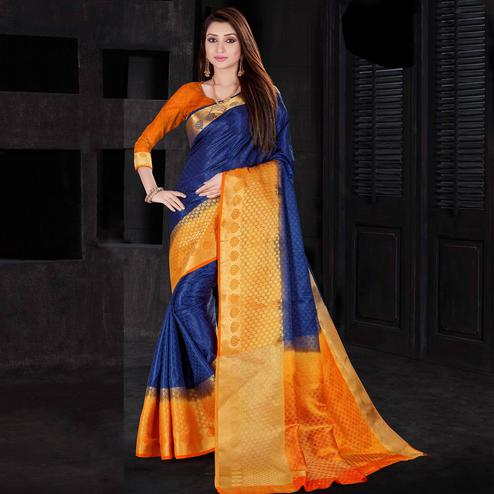 Eye-Catching Blue Colored Festive Wear Woven Silk Saree