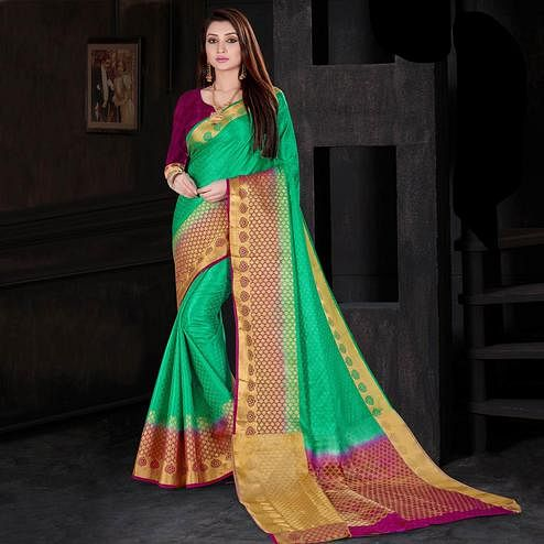 Refreshing Turquoise Green Colored Festive Wear Woven Silk Saree