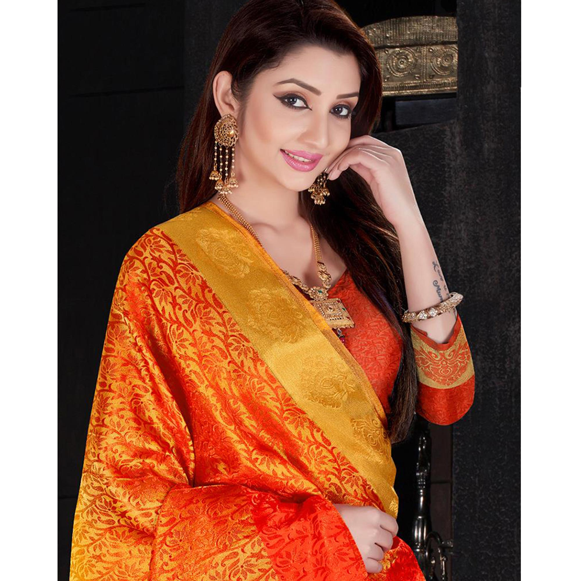 Blooming Yellow Colored Festive Wear Woven Silk Saree