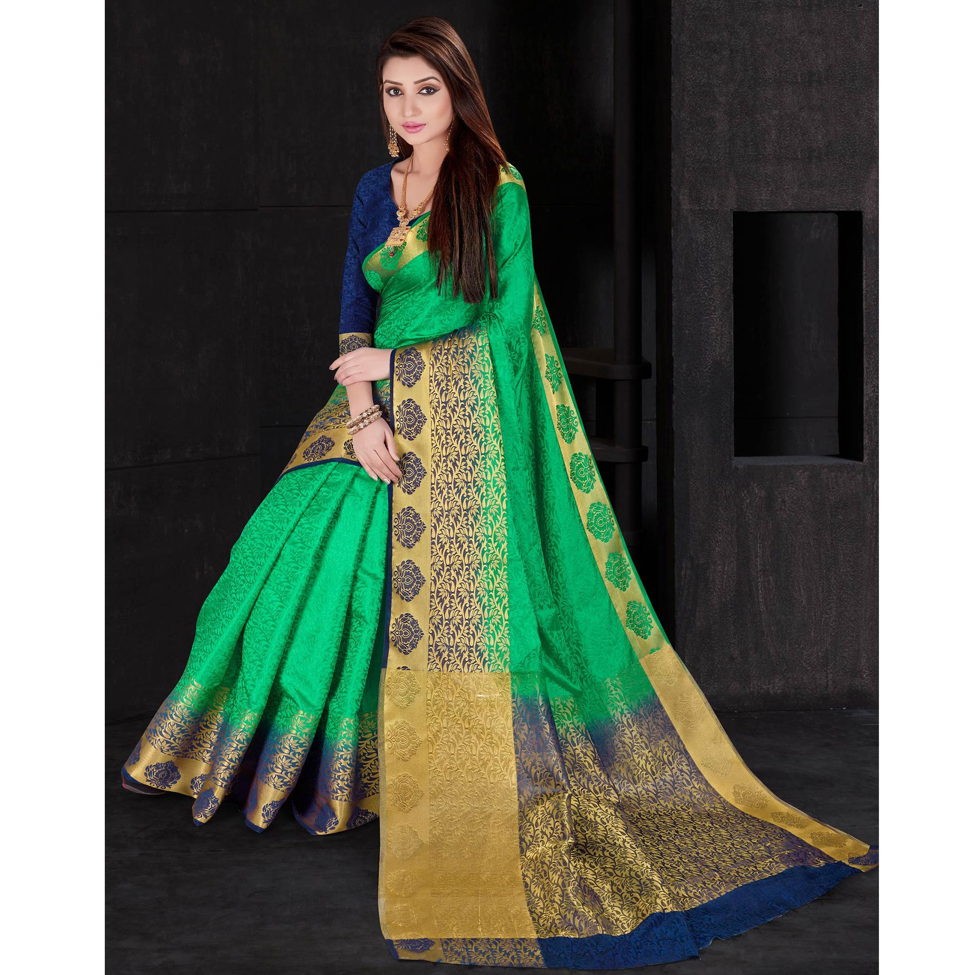 Gleaming Green Colored Festive Wear Woven Silk Saree