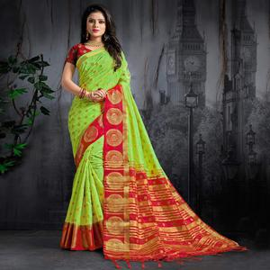 Jazzy Green Colored Festive Wear Woven Silk Saree