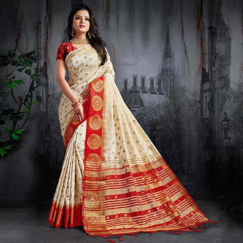 b661200bc56b0 Appealing Cream Colored Festive Wear Woven Silk Saree