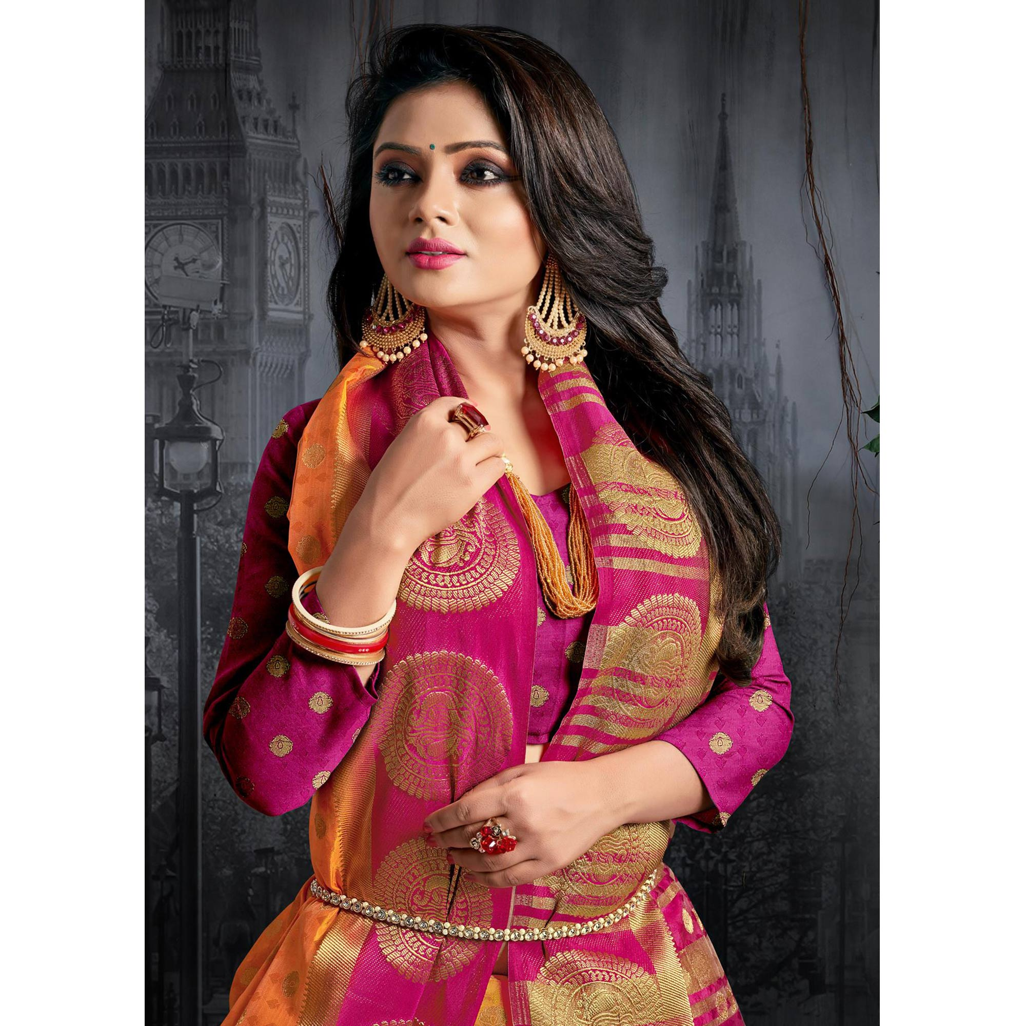 Groovy Orange Colored Festive Wear Woven Silk Saree