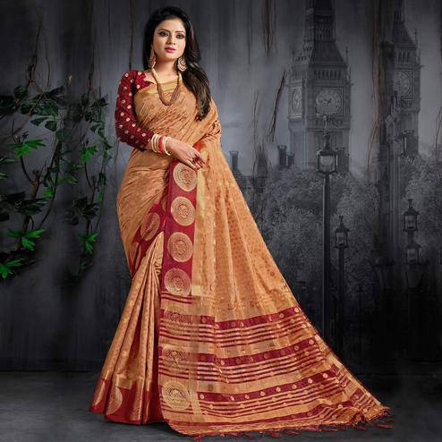 Capricious Peach Colored Festive Wear Woven Silk Saree