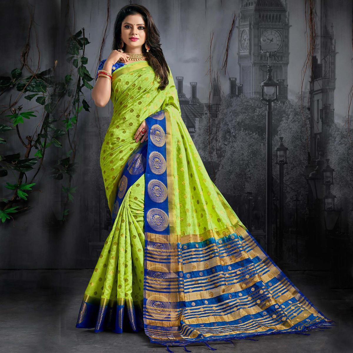 Adorning Green Colored Festive Wear Woven Silk Saree