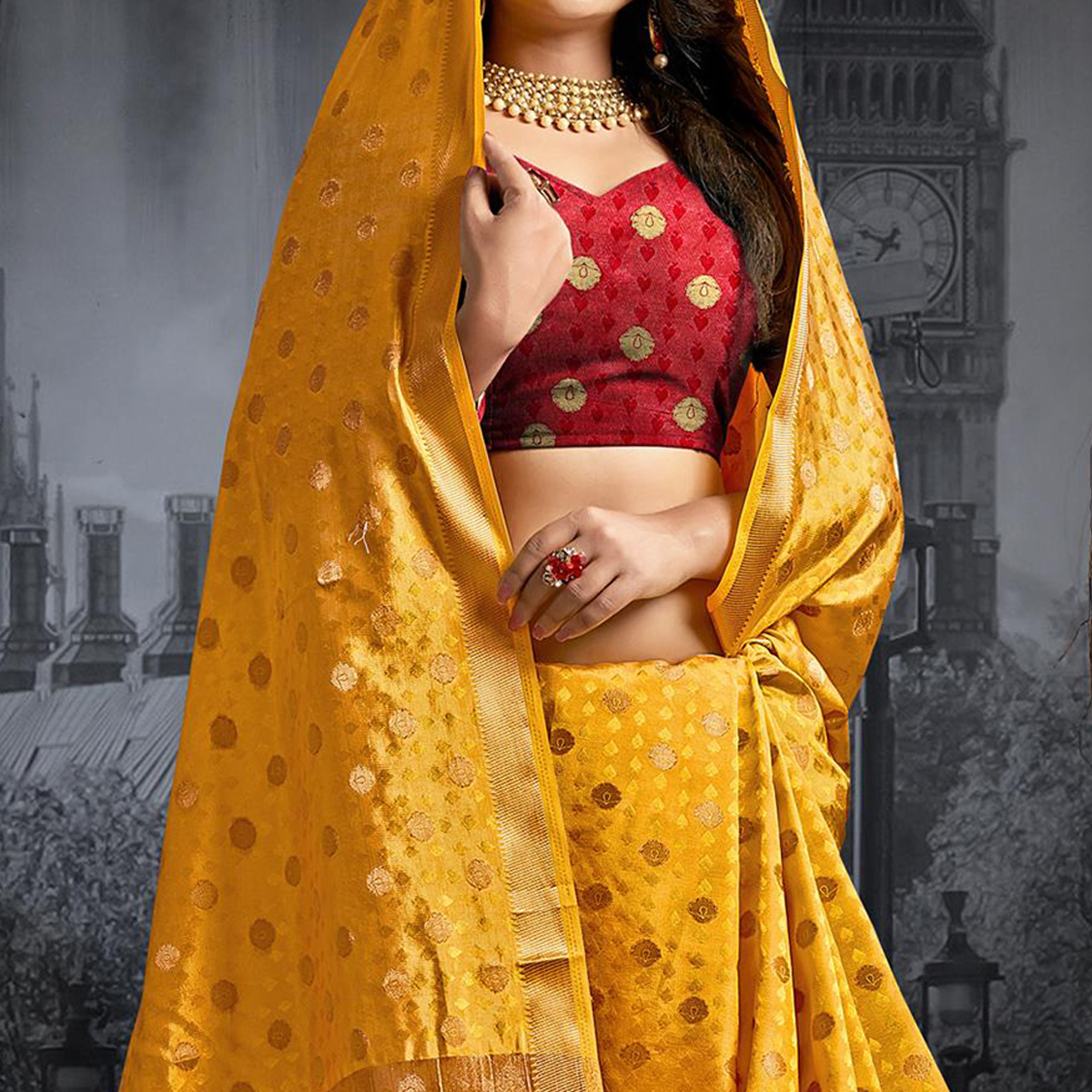 Captivating Yellow Colored Festive Wear Woven Silk Saree