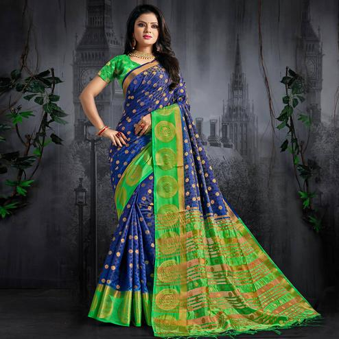 Desirable Blue Colored Festive Wear Woven Silk Saree
