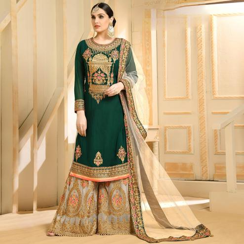Marvellous Green Colored Partywear Embroidered Georgette Palazzo Suit