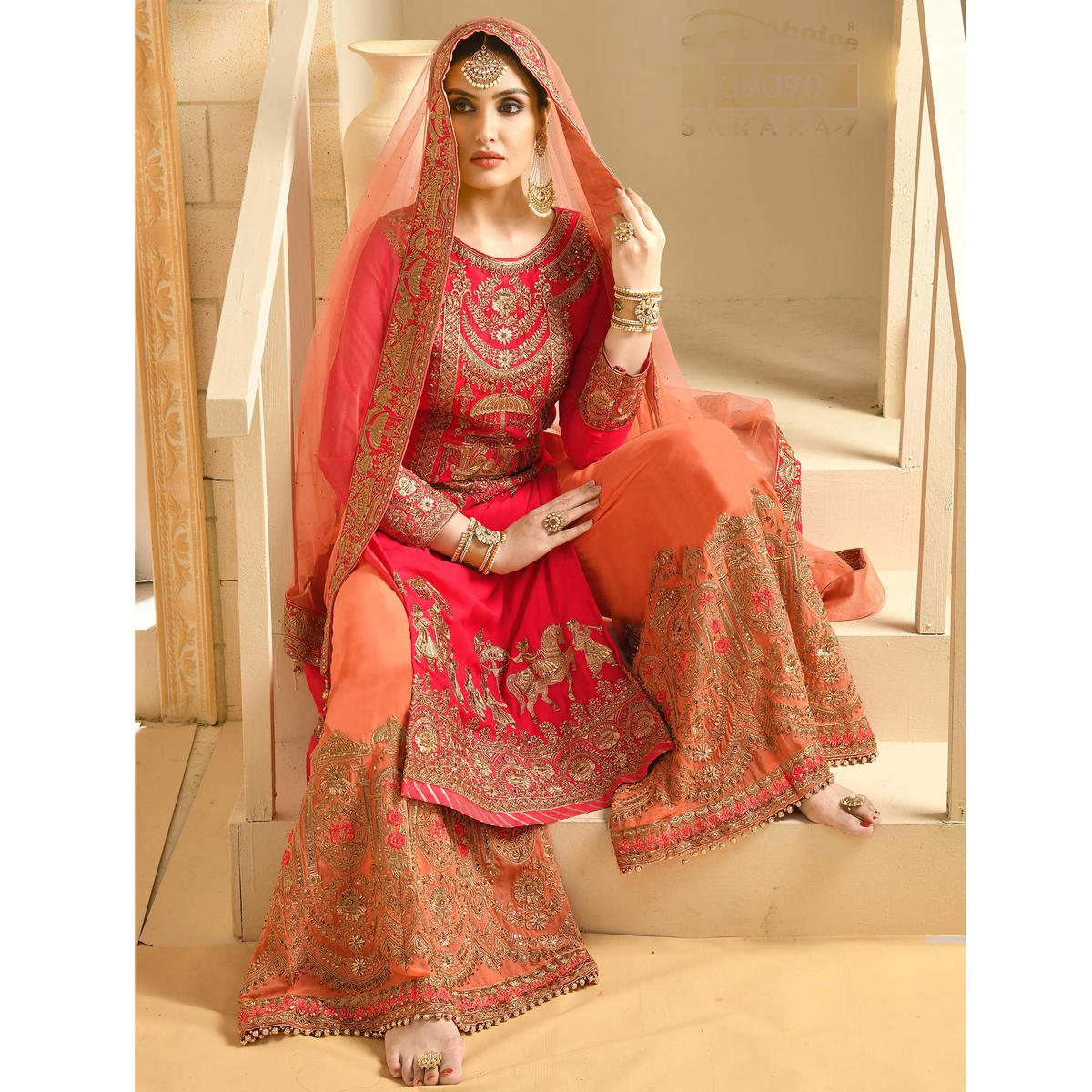 Excellent Red Colored Partywear Embroidered Georgette Palazzo Suit