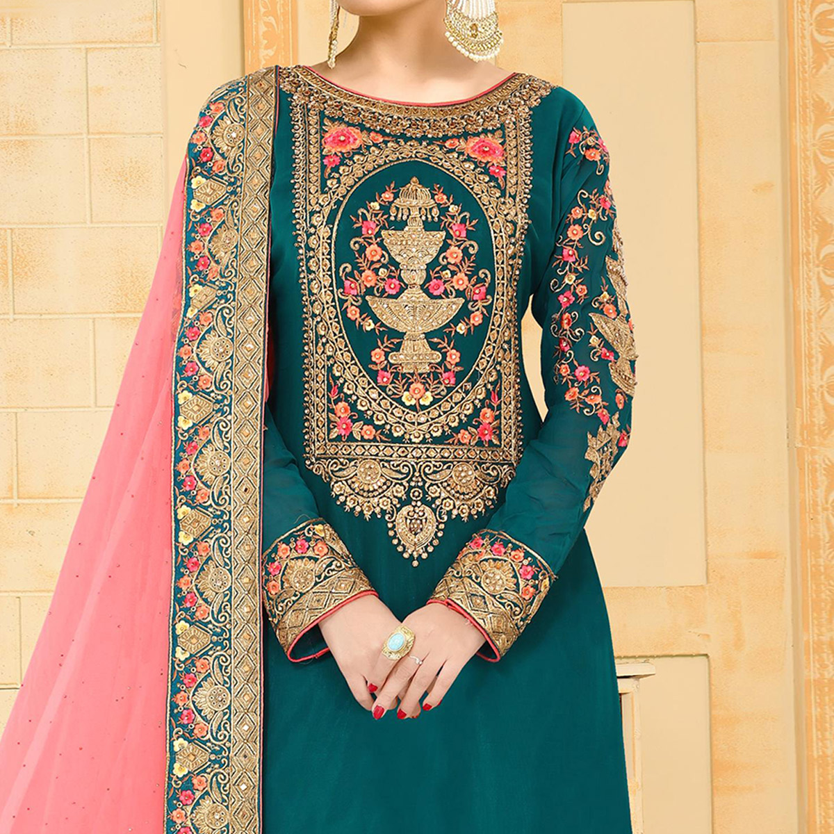 Gorgeous Teal Green Colored Partywear Embroidered Georgette Palazzo Suit
