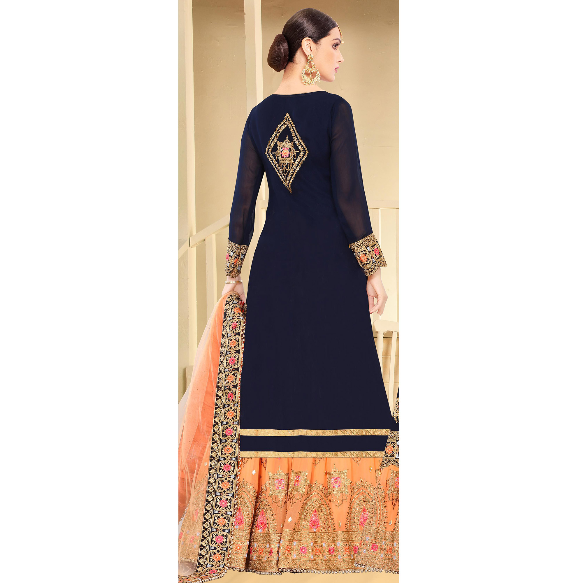Fantastic Dark Blue Colored Partywear Embroidered Georgette Palazzo Suit