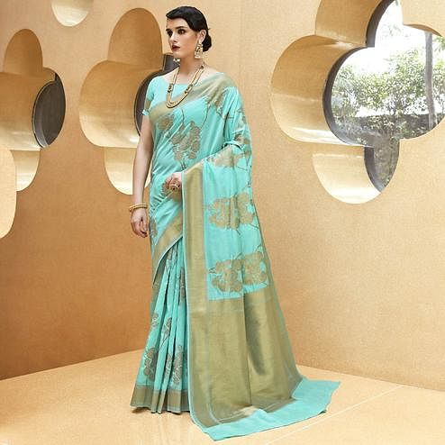 Delightful Cyan Colored Festive Wear Printed Silk Saree