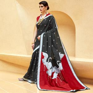 Stunning Black Colored Party Wear Printed Silk Saree