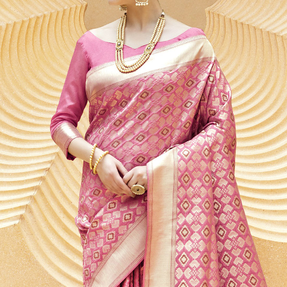 Blooming Pink Colored Festive Wear Printed Silk Saree