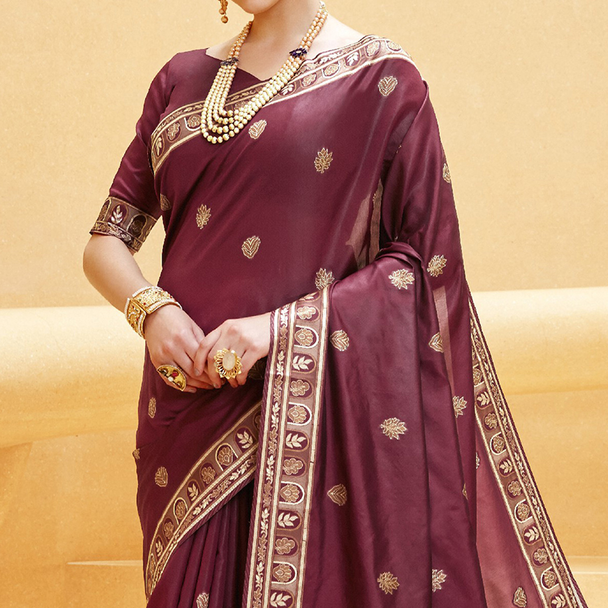 Marvellous Wine Colored Party Wear Printed Silk Saree