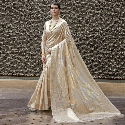 Mesmerising Cream Colored Festive Wear Printed Silk Saree