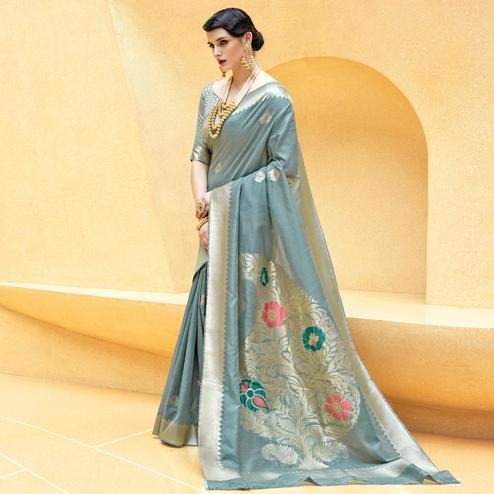 Eye-catching Grey Colored Festive Wear Printed Silk Saree