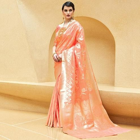 Amazing Peach Colored Festive Wear Printed Silk Saree