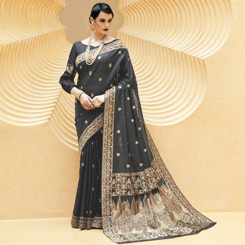 Exotic Black Colored Party Wear Printed Silk Saree