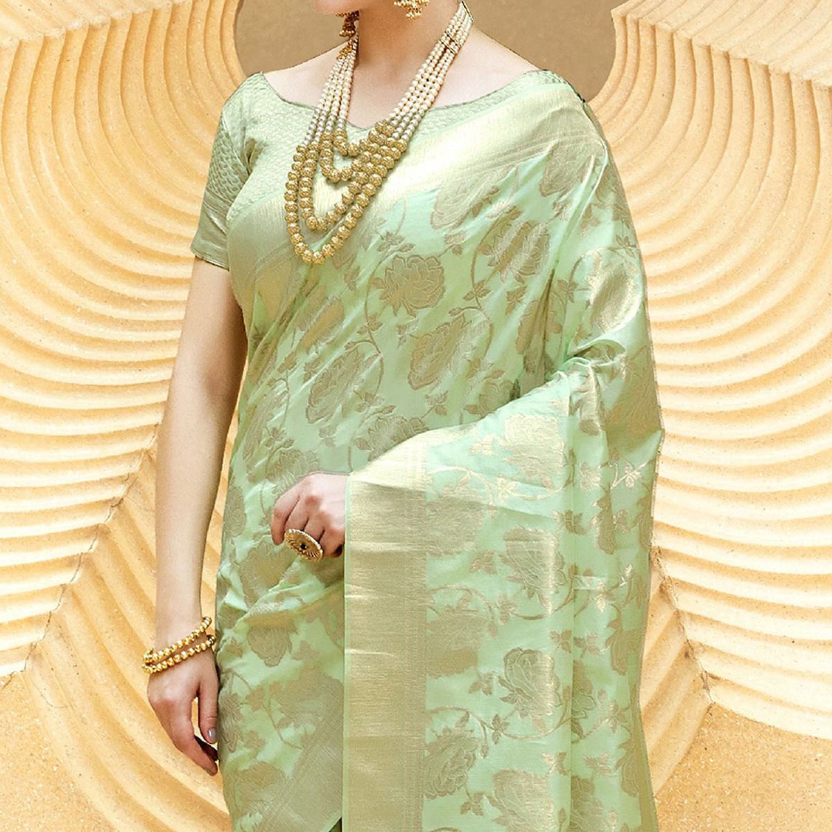 Majesty Pista Green Colored Festive Wear Printed Silk Saree