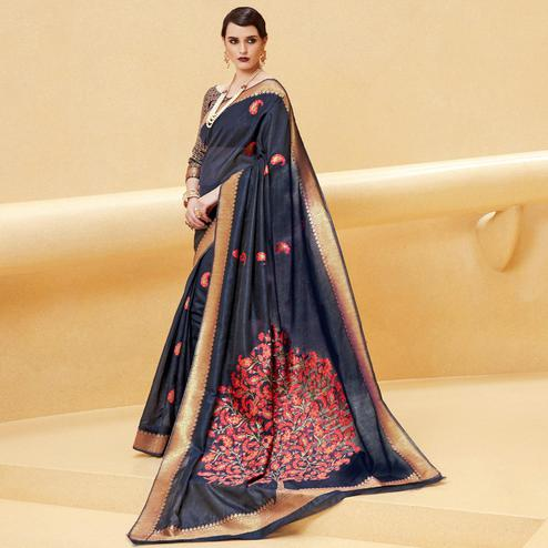 Opulent Black Colored Festive Wear Printed Silk Saree