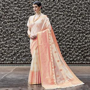 Dazzling Light Pink Colored Party Wear Printed Silk Saree
