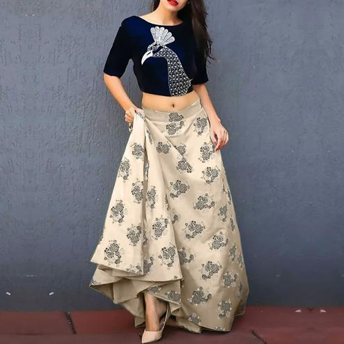 Eye-Catching Blue-Off White Colored Partywear Embroidered Banarasi Silk Lehenga Choli