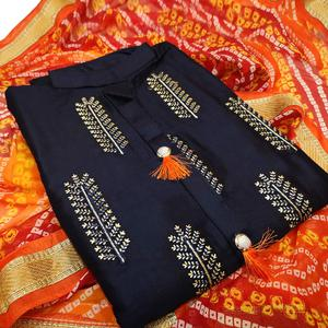 Demanding Navy Blue Colored Partywear Embroidered Cotton Dress Material