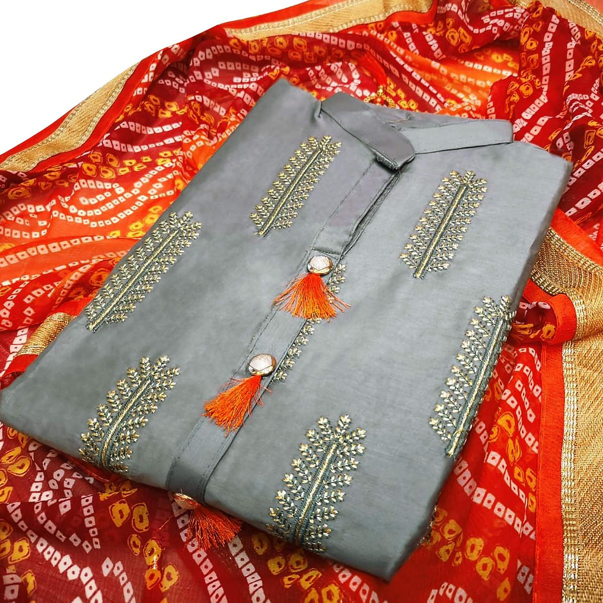 Exceptional Gray Colored Partywear Embroidered Cotton Dress Material