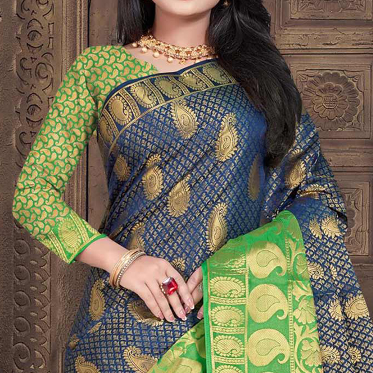 Elegant Blue Colored Festive Wear Woven Silk Saree