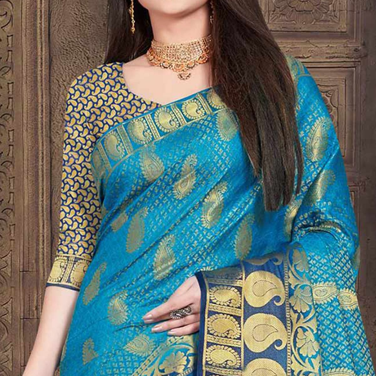 Adorable Sky Blue Colored Festive Wear Woven Silk Saree