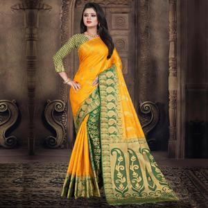 Demanding Yellow Colored Festive Wear Woven Silk Saree