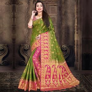 Glowing Green Colored Festive Wear Woven Silk Saree