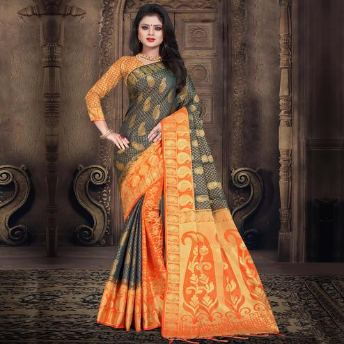 Gorgeous Blue-Orange Colored Festive Wear Woven Silk Saree