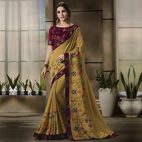 Gorgeous Light Olive Green Colored Partywear Embroidered Art Silk Saree