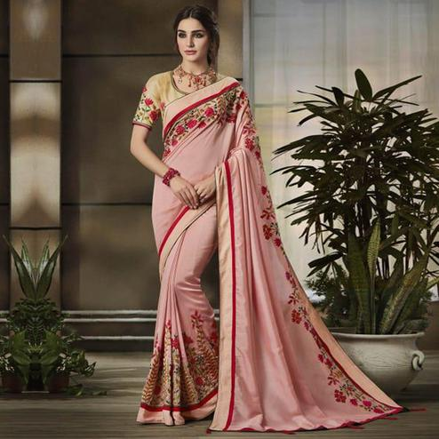 Gleaming Pink Colored Partywear Embroidered Art Silk Saree