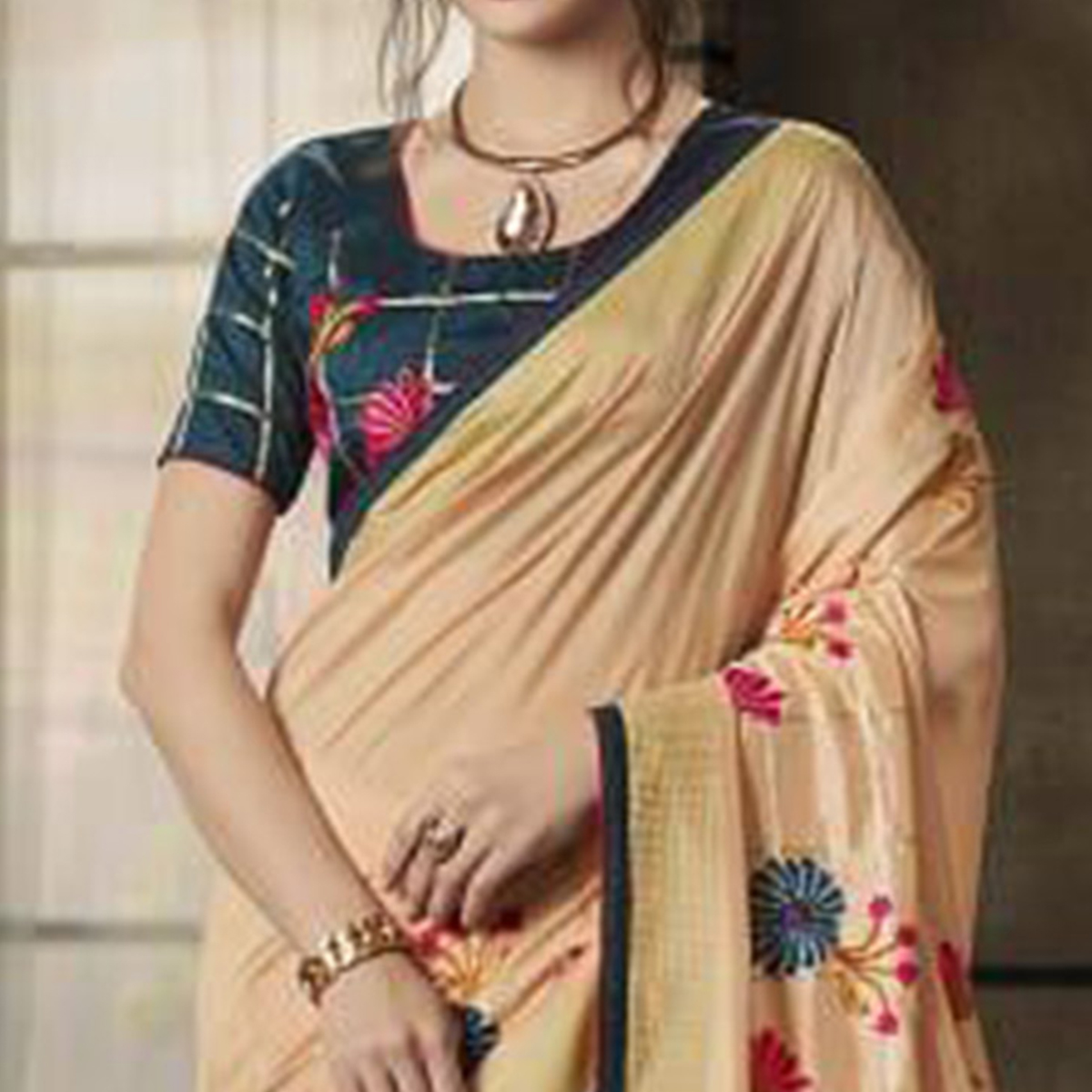 Blooming Beige Colored Partywear Embroidered Art Silk Saree