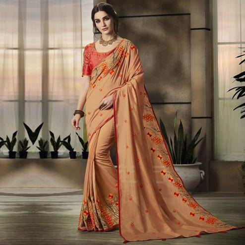 Demanding Light Orange Colored Partywear Embroidered Art Silk Saree