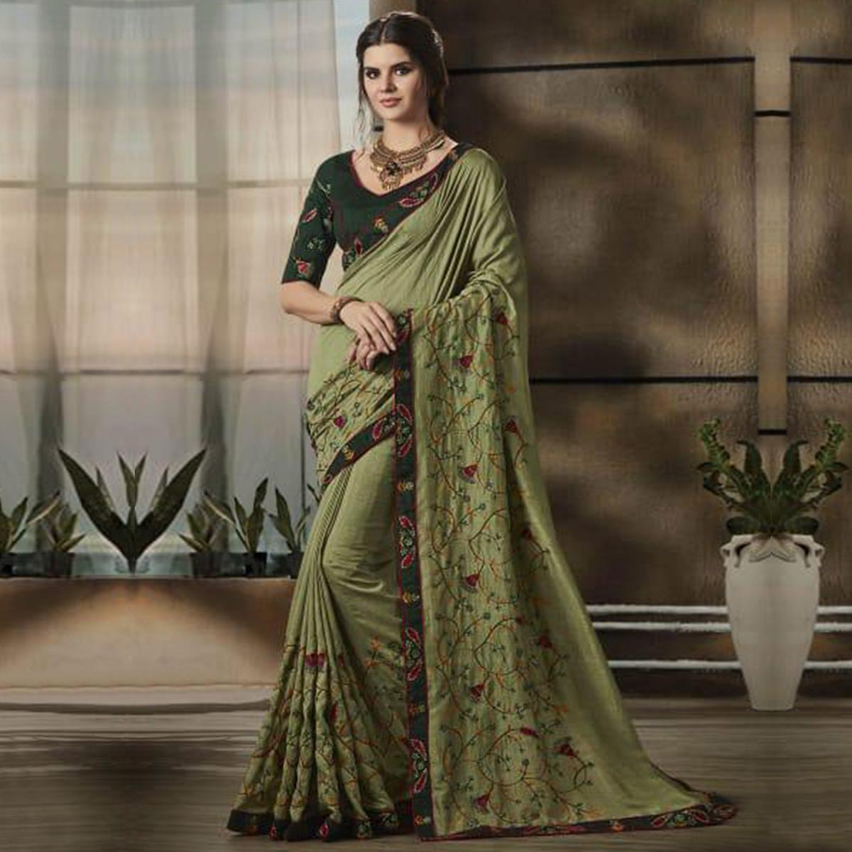 Refreshing Green Colored Partywear Embroidered Art Silk Saree